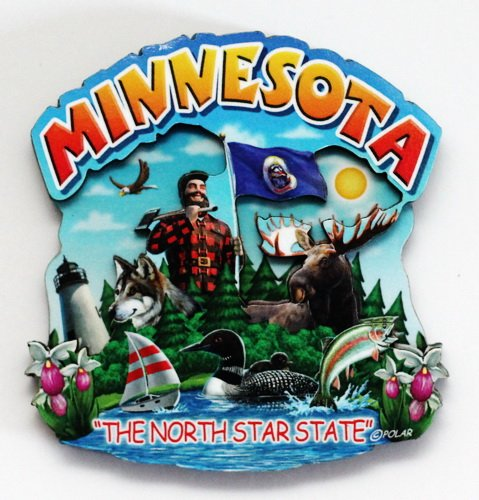 Minnesota State Montage Wood Fridge Magnet 2