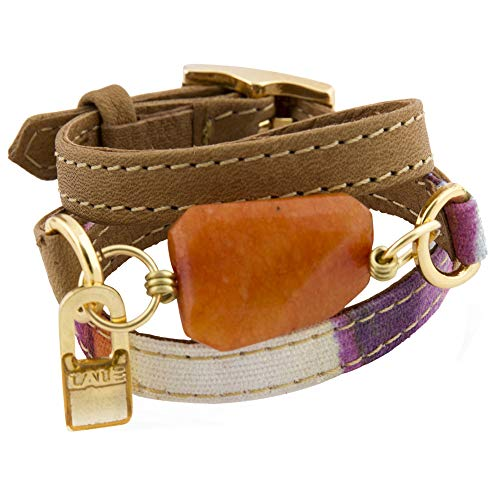 LALÉ Woman wrap Genuine Leather and semiprecious Stone Bracelet   Twists Three Times Around The Wrist   Ironwork Plated in Gold Buckle   Adjustable Size   Handmade Jewelry (Magenta Stripe, 7.5)