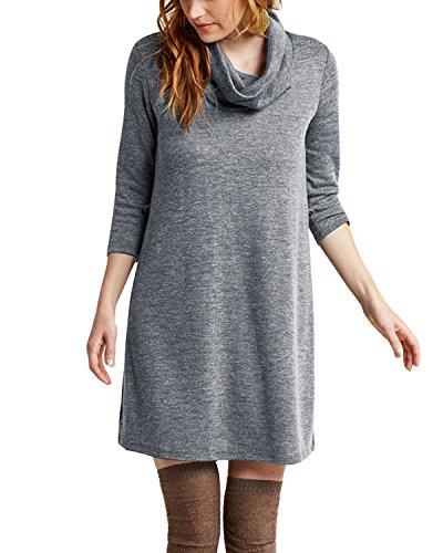Tempt Me Womens Long Sleeve Cowl Neck Cotton Casual Tie Waist Jersey Dress Tops Grey Large (Tie Tops Jersey Waist)