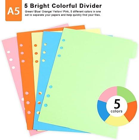 giallo con 6 fori colorati totale 25 fogli Set di 5 divisori in formato A5 blu verde rosa Teenitor colori: arancione divisori con linguette divisori per quaderni per agenda