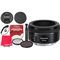 Canon EF 50mm f/1.8 STM Lens with Elite Optics Commander Pro HD Series Ultra-Violet Protector UV Filter & Circular Polarizer CPL Multi-Coated Filter - International Version