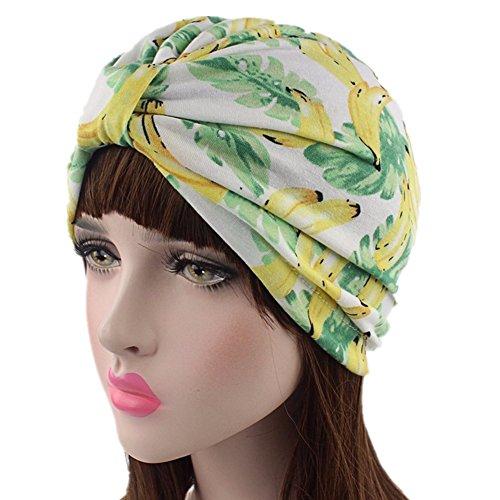 beauty YFJH Printed Soft Pre Tied Cotton India Chemo Cap Beanie Turban Headwear For Cancer (Banana)