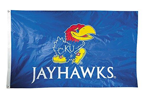 BSI NCAA Kansas Jayhawks 2-Sided Nylon Applique Flag with Grommets, 3' x 5', Royal