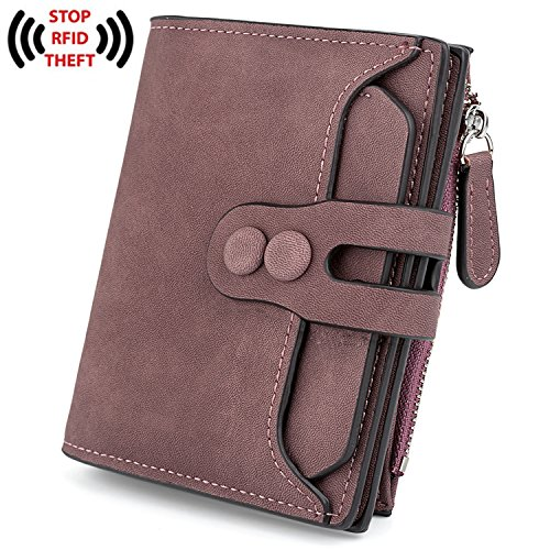 UTO Women's RFID Blocking PU Matte Leather Wallet Card Holder Organizer Girls Small Cute Coin Purse With Snap Closure B Purple