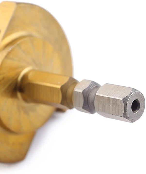 acero aluminio y cobre OUNONA Broca escalonada de titanio de acero de alta velocidad con v/ástago hexagonal de 3-13 mm para pl/ástico metal madera lat/ón