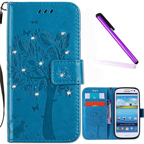 Samsung Galaxy S3 Case Cover EMAXELER Stylish Wallet Case Diamond Embossed Kickstand Flip Credit Cards Slot Cash Pockets PU Leather Flip Case For Galaxy S3 Wish Tree Blue
