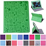 HDE iPad 1 Case - Slim Fit Cute Kid's Leather Cover Stand Folio with Magnetic Closure for Apple iPad 1 1st Generation (Cartoon Green)