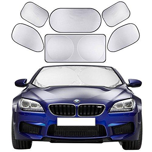 Windshield Sunshade 6 Pieces Car Sun Shade Auto Window Shades by Cosyzone UV Rays Sun Visor Protector, Keeps Vehicle Cooler