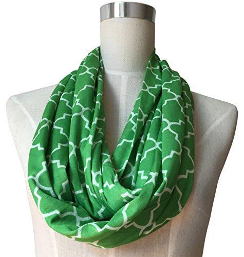[Womens Infinity Scarf w/ Zipper Pocket & Pattern Print, Infinity Scarves - Green Scarf] (Kids Greek Outfit)