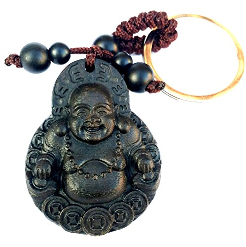 Betterdecor Feng Shui Peach Wood Money Buddha Key Ring for Wealth (With a ()