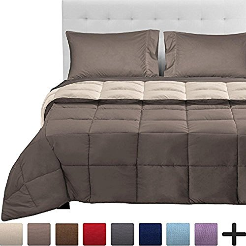 Bare Home 5-Piece Reversible Bed-In-A-Bag - Full (Comforter: Taupe/Sand, Sheet Set: Taupe)
