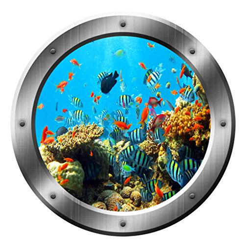 Coral Reef Wall Decal Porthole Ocean School of fish | Fish Wall Decor