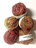 Yarn Place 1 LARGE Hand-Spun Ball Himalaya Recycled Sari Silk Yarn Multi Color Sampler