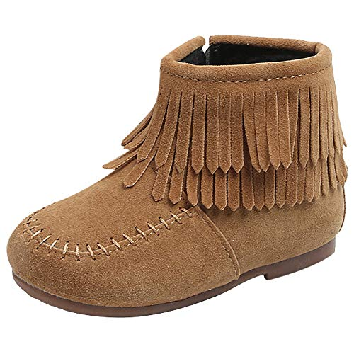 Kids Toddler Baby Girls Boys Moccasins Ankle Booties Winter Double Fringe Tassel Martin Boots Solid Zip Snow Boots Shoes