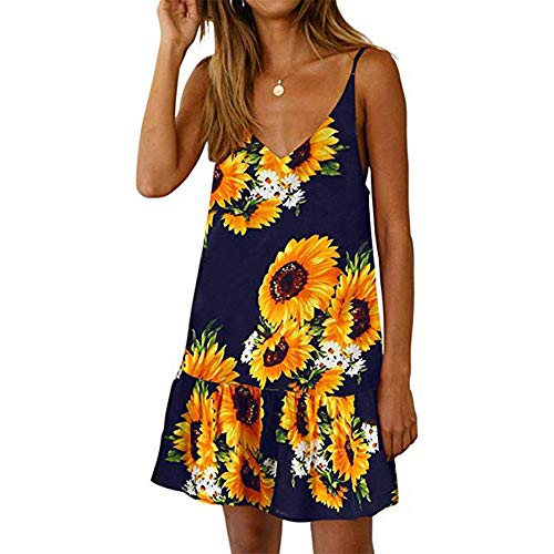 LIM&Shop Women Summer Cami Dress Top Spaghetti Strap Mini Dress Tank Casual Floral Print Ruffles Hem Swing Skirt A-line Black ()