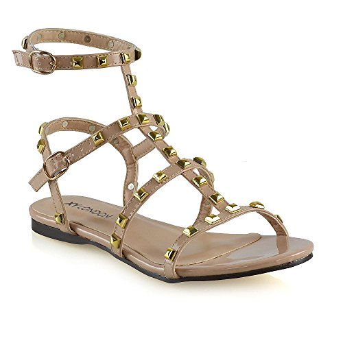 Studded Flat Sandals - ESSEX GLAM Womens Gladiator Sandals Ladies Nude Patent Flat Studded Open Toe Rivet Buckle Shoes 10 B(M) US