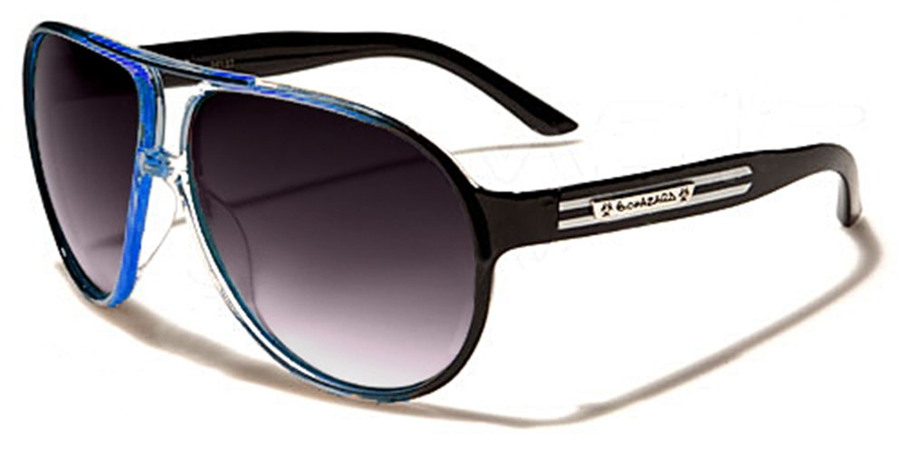 Biohazard Lunettes de Soleil Aviator - Ville - Mode - Plage - Fashion - Clubbing - Conduite - Moto / Mod. Hawai Noir Bleu Hawai Bleu