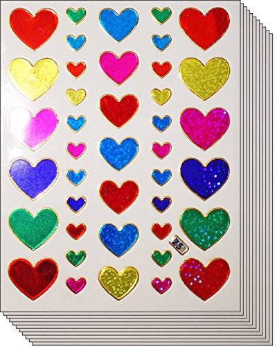 - Jazzstick 400 Valentine's day Colorful Glitter Heart Stickers 10 sheets (VST01A20)