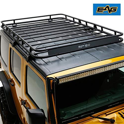 Roof 4 Pieces - EAG 4 Door Roof Rack Cargo Basket W/Wind Deflector Fit for 07-18 Jeep Wrangler JK