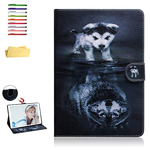 UUcovers 8 inch Case for Amazon Kindle Fire HD 8 (8th/7th/6th/5th Generation, 2018/2017/2016/2015), Stand Synthetic Leather Magnetic Wallet TPU Shockproof Cover with Pocket Card Holder, Wolf and Dog (Kindle Fire Dog Case)