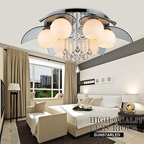 JJD Simple and warm Crystal Chandelier, Modern Ceiling Light Fixture for Dining Room, Bedroom, Living Room (6)