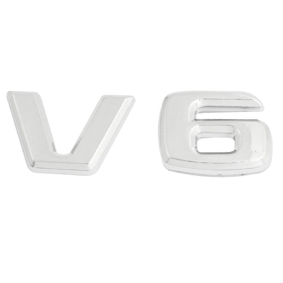 (métal ton argenté)-Motif Emblème V6 Badge autocollant pour décoration voiture