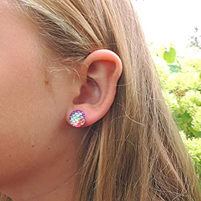Mermaid Scale Stud Earrings on Plastic Posts, 12mm Pink
