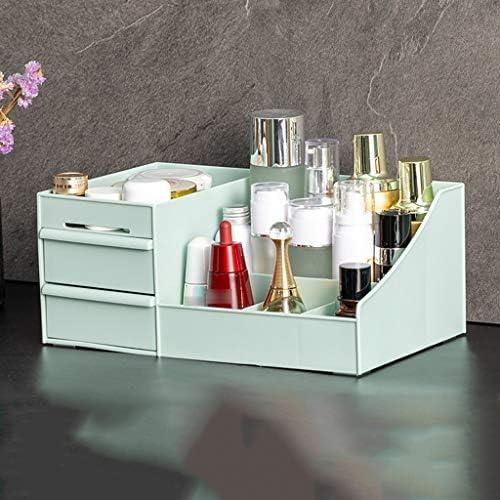 化粧品収納ボックス 大容量の化粧品収納ボックス多層収納ボックス引き出しタイプ可能プラスチック素材ピンクホワイトグリーン透明 QTKGG (Color : Green)