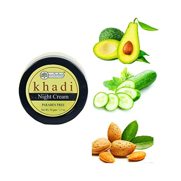 Khadi Rishikesh Herbal Night Cream ,should be able to fight puffiness, wrinkle, & pigmentation ,anti aging roughness… 2021 August Reduces skin pigmentation and evens out skin tone Brightens you skin and adds a soft, natural glow,elps in naturally exfoliating the skin & thus reducing dark spots of caused due to daily environmental exposure. Whitens skin by reducing appearance of dark spots and minor skin blemishes