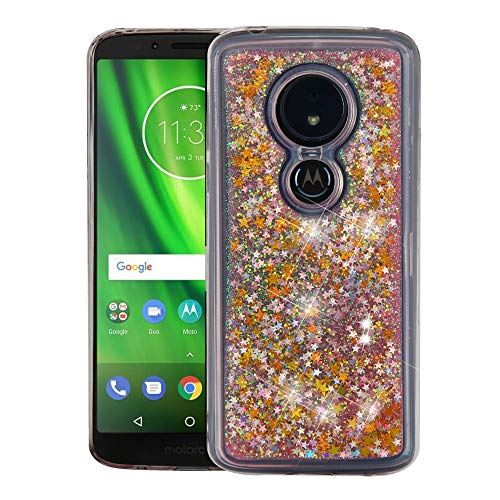 Luckiefind Case Compatible Motorola Moto G6 Play/Moto G6 Forge, Hybrid Liquid Quicksand with Glitter Fused Hybrid Hard PC TPU Cover Case (Quicksand Gold)