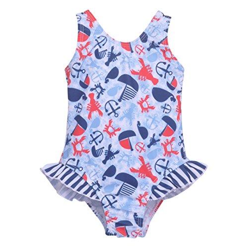 Flap Happy Big Girls' UPF 50+ Delaney Hip Ruffle Swimsuit, Lobster Lagoon, 5 ()