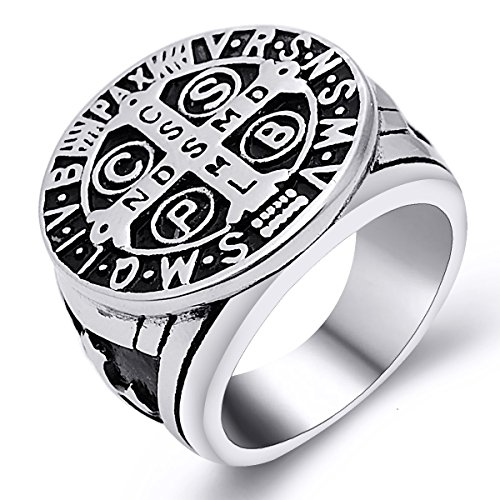 (enhong St Benedict Exorcism Ring for Men Stainless Steel Catholic Roman Cross Demon Protection Ghost Hunter Size 10)