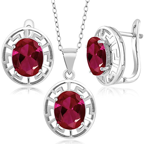 Gem Stone King 7.50 Ct Oval Red Created Ruby 925 Silver Pendant Earrings Set With Chain