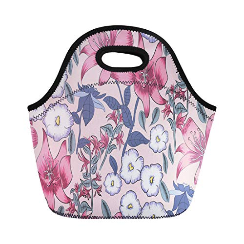 (Tinmun Lunch Tote Bag Colorful Flower Azalea Lilly Floral Allover Pink Pattern Autumn Reusable Neoprene Bags Insulated Thermal Picnic Handbag for Women Men)