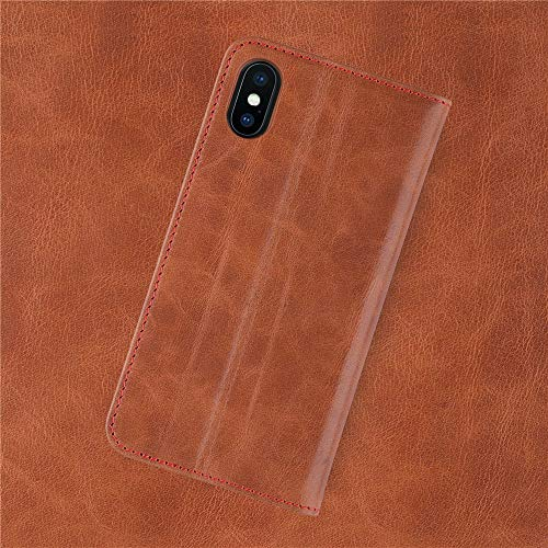 iPhone Xs/X Leather Wallet Case. iATO Premium Protective Genuine Brown Cowhide Wallet Cover. Stylish Folio Flip Bookcase Type Accessory for iPhone Xs (2018) / X (2017). Supports Wireless Charging