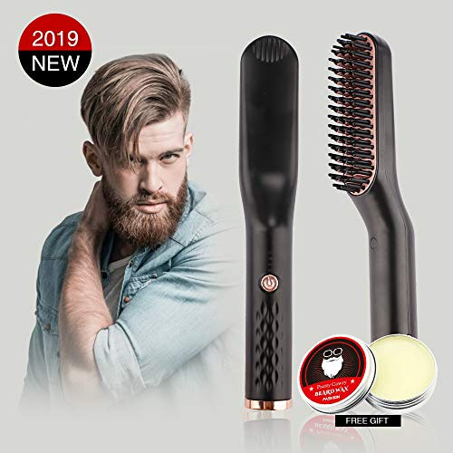 Beard Straightener for Men Electric Hair Straightener Brush 3-in-1 Ionic Straightening Comb with Anti-Scald Feature Heat Resistant Hair Straightening Styling Comb with Free Beard Cream (Best Hair Straightener Cream For Mens)