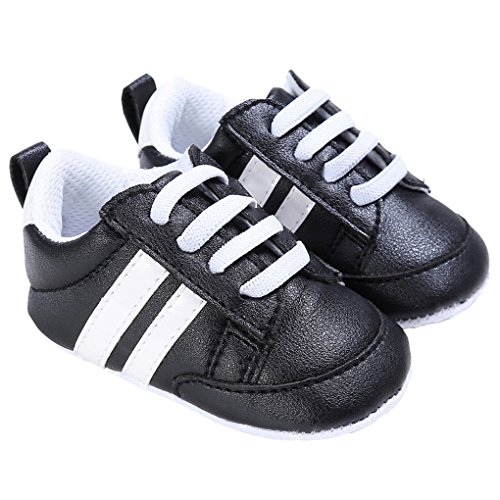 Baby Boys Patent-leather Two Bars Lace-up Sneakers Early Walking Crib Shoes Black Size S
