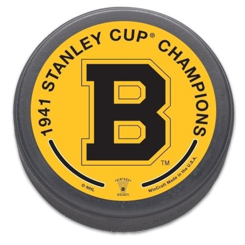 Boston Bruins 1941 Stanley Cup Champions Size and Weight Hockey Puck Bruins