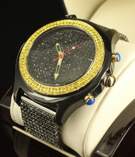 Canary Black Iced King Hip Hop Cubic Zirconium Bullet Style Silicon Band Watch by Diamond & Co