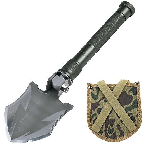 Glossday Military Folding Shovel Multitool,Portable Survival Shovels,Tactical Entrenching Tool,Heavy Duty Emergency Tool, Outdoor Gear Camping Backpacking,Fishing,Hiking (15inch) by Glossday (Image #7)