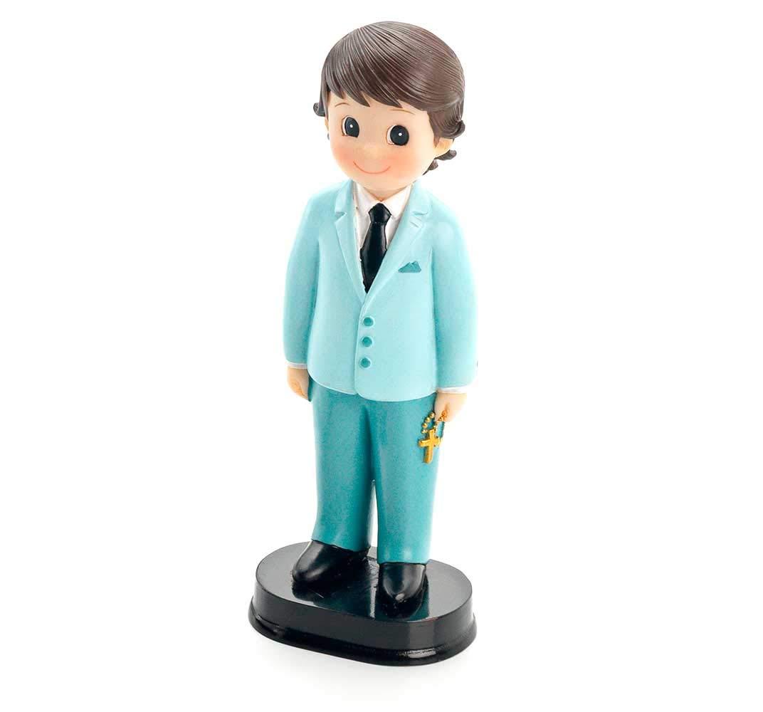 Figura para tarta de Comunión, niño con traje azul claro. Recuerdo ...