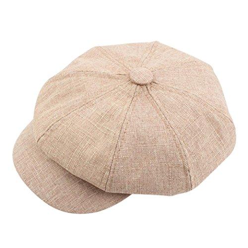 Unisex Vintage Beret Hat Solid Color Cotton French Artist Beret Thicken Warm Multiple Wear Ways (Khaki)