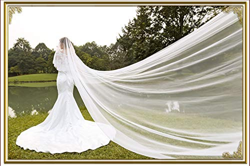 Little Poor White Ivory Wedding Veil Bride Fingertip Veils Hen Do Party Accessories Length Edge Cathedral Women's Simple Elegant Casual 3/5/10M,5m