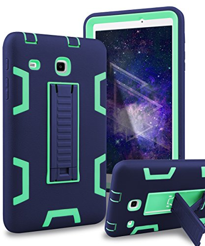 Samsung Galaxy Tab E 8.0 Case,XIQI Three Layer Kickstand Hybrid Rugged Heavy duty Shockproof Anti-Slip Case Full Body Protection Cover for Tab E 8.0 inch,Navy Blue Green