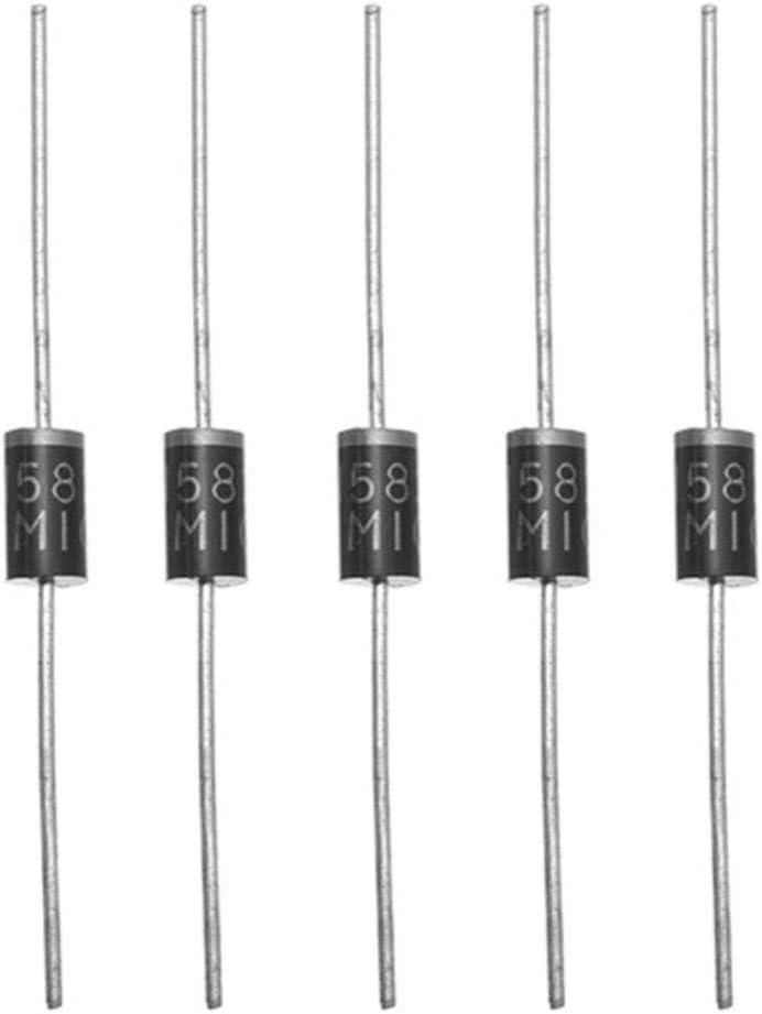 Yongse 100pcs 8 Values Diode Pack Component Pack 1N4148 1N4007 1N5819 1N5399 FR107 FR207 1N5408 1N5822