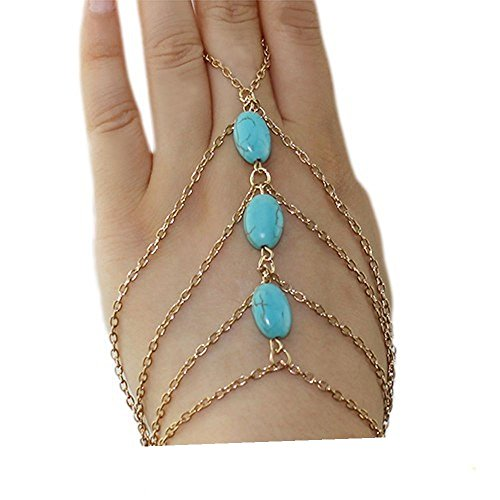 Womens, Gold Tone and Turqoise Bracelet Ring / Anklet Toe (Slave Anklet) from Basket Hill Watches and Gifts