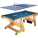 Riley FP-6TT tavolo da gioco biliardo carambola / ping pong 2 in 1 (pieghevole salvaspazio con ruote, set completo per giocare, struttura resistente)