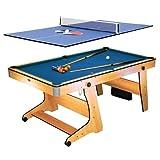 Riley FP-6TT 2 in 1 Multifunktionsspieltisch Pool-Billardtisch Tischtennis (Klappsystem, Bodenrollen, Spielzubehör, Queues, Kugeln, Bälle, Schläger) buche