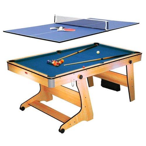 Riley FP-6TT • 2-in-1 Multifunktionsspieltisch • Pool-Billardtisch • Tischtennis • Klappsystem • Zubehör • Queues • Kugeln • Bälle • Schläger • buche
