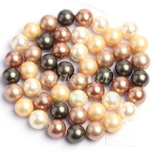 (FidgetFidget 12mm Natural Multicolor South Sea Shell Pearl Round Beads Strand 15